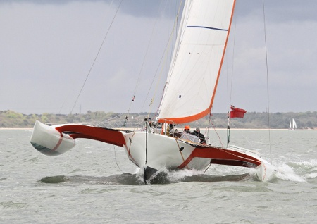 A boat with wind in it's sales